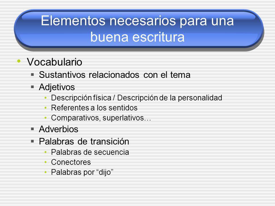 Elementos necesarios para una buena escritura Vocabulario Sustantivos relacionados con el tema Adjetivos Descripción física / Descripción de la person