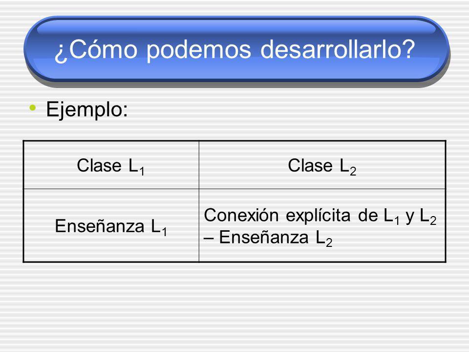 ¿Cómo podemos desarrollarlo? Ejemplo: Clase L 1 Clase L 2 Enseñanza L 1 Conexión explícita de L 1 y L 2 – Enseñanza L 2