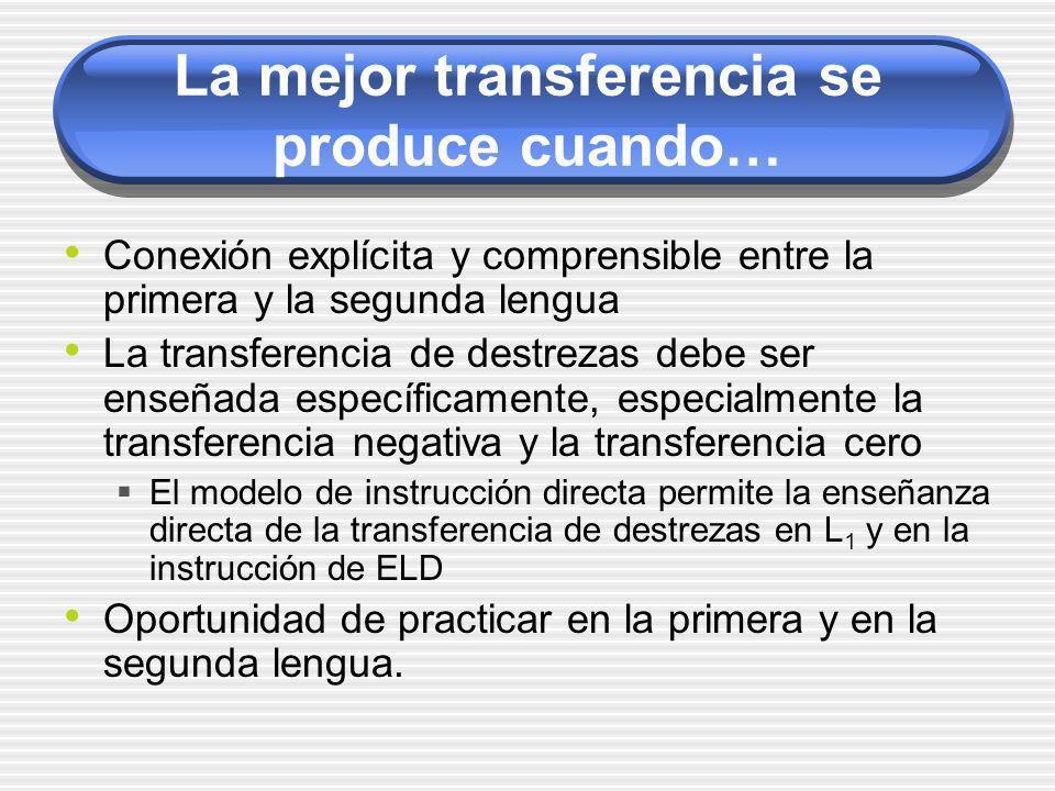 La mejor transferencia se produce cuando… Conexión explícita y comprensible entre la primera y la segunda lengua La transferencia de destrezas debe se