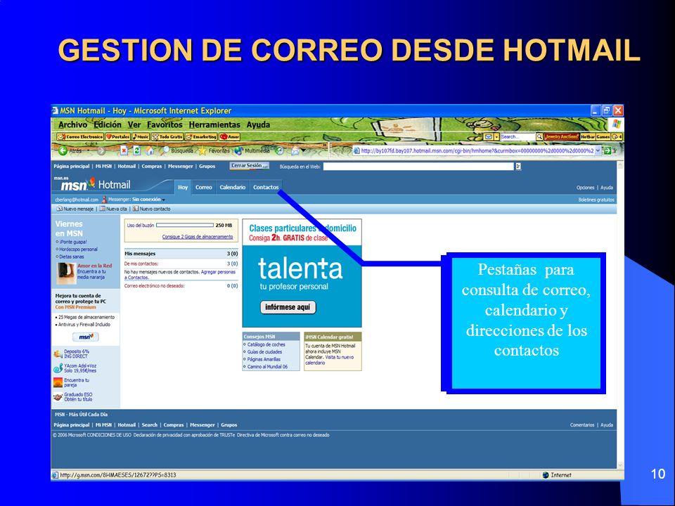 10 GESTION DE CORREO DESDE HOTMAIL Pestañas para consulta de correo, calendario y direcciones de los contactos