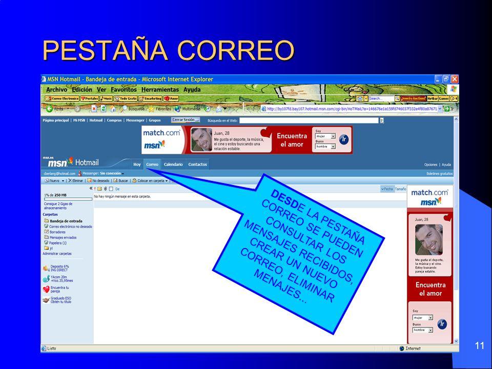 11 PESTAÑA CORREO DESD E LA PESTAÑA CORREO SE PUEDEN CONSULTAR LOS MENSAJES RECIBIDOS, CREAR UN NUEVO CORREO, ELIMINAR MENAJES...