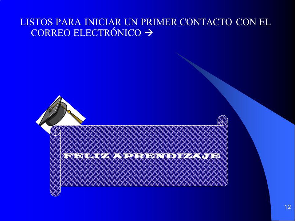 12 LISTOS PARA INICIAR UN PRIMER CONTACTO CON EL CORREO ELECTRÓNICO FELIZ APRENDIZAJE