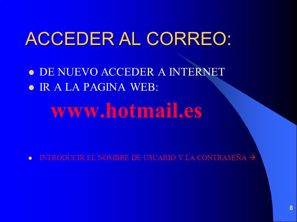 8 ACCEDER AL CORREO: DE NUEVO ACCEDER A INTERNET IR A LA PAGINA WEB: www.hotmail.es INTRODUCIR EL NOMBRE DE USUARIO Y LA CONTRASEÑA