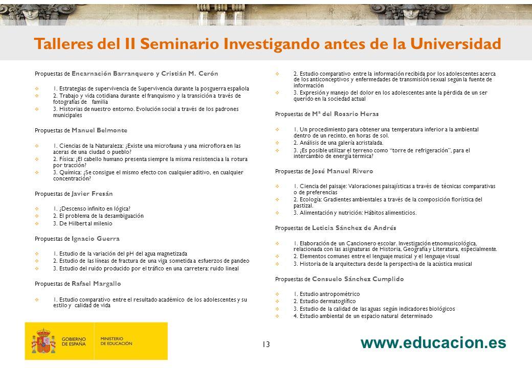 www.educacion.es 13 Propuestas de Encarnación Barranquero y Cristián M.