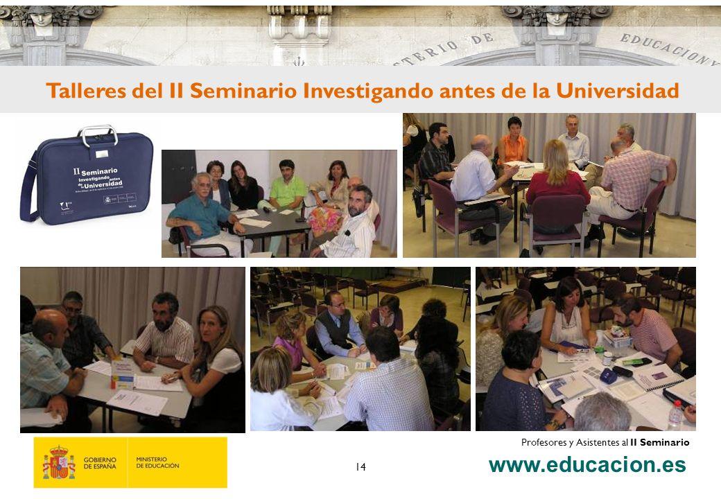 www.educacion.es 14 Talleres del II Seminario Investigando antes de la Universidad Profesores y Asistentes al II Seminario