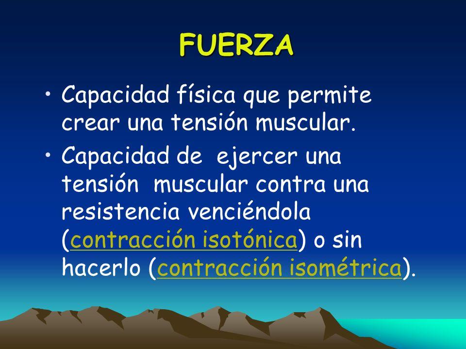 FUERZA Capacidad física que permite crear una tensión muscular. Capacidad de ejercer una tensión muscular contra una resistencia venciéndola (contracc