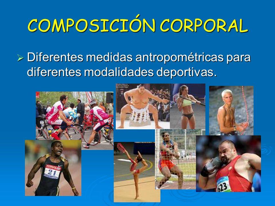 Diferentes medidas antropométricas para diferentes modalidades deportivas. Diferentes medidas antropométricas para diferentes modalidades deportivas.