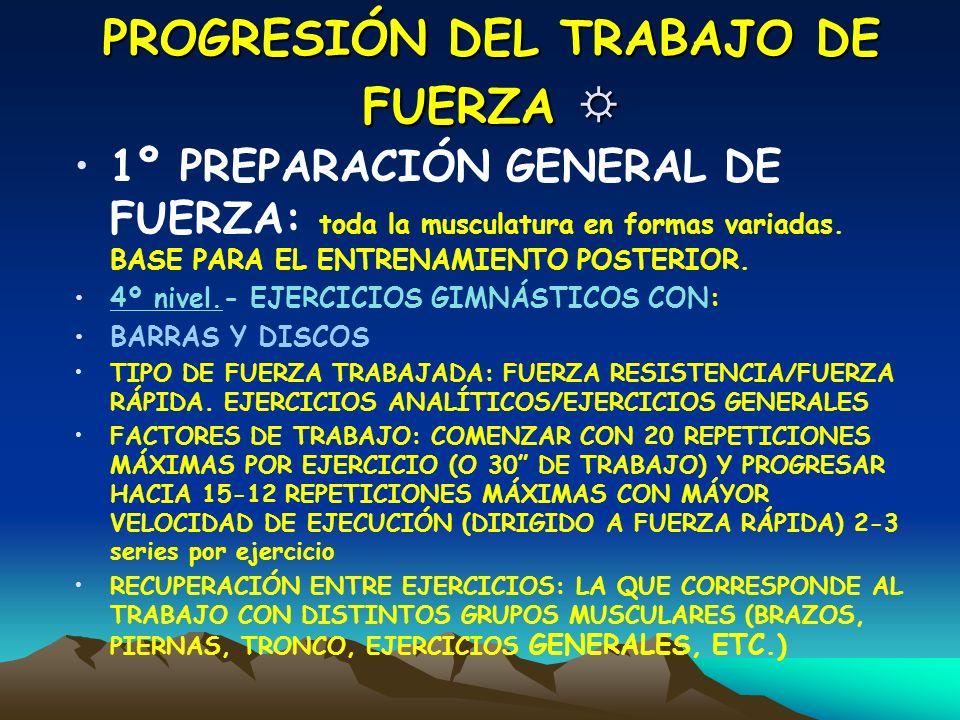PROGRESIÓN DEL TRABAJO DE FUERZA PROGRESIÓN DEL TRABAJO DE FUERZA 1º PREPARACIÓN GENERAL DE FUERZA: toda la musculatura en formas variadas. BASE PARA