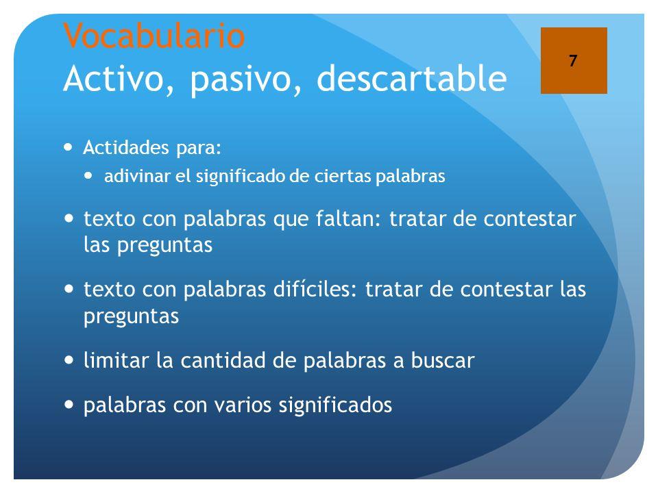 Vocabulario Activo, pasivo, descartable Actidades para: adivinar el significado de ciertas palabras texto con palabras que faltan: tratar de contestar