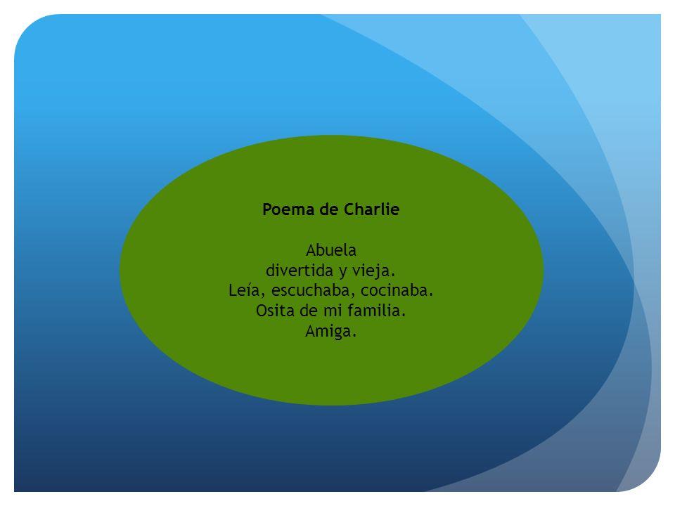 Poema de Charlie Abuela divertida y vieja. Leía, escuchaba, cocinaba. Osita de mi familia. Amiga.