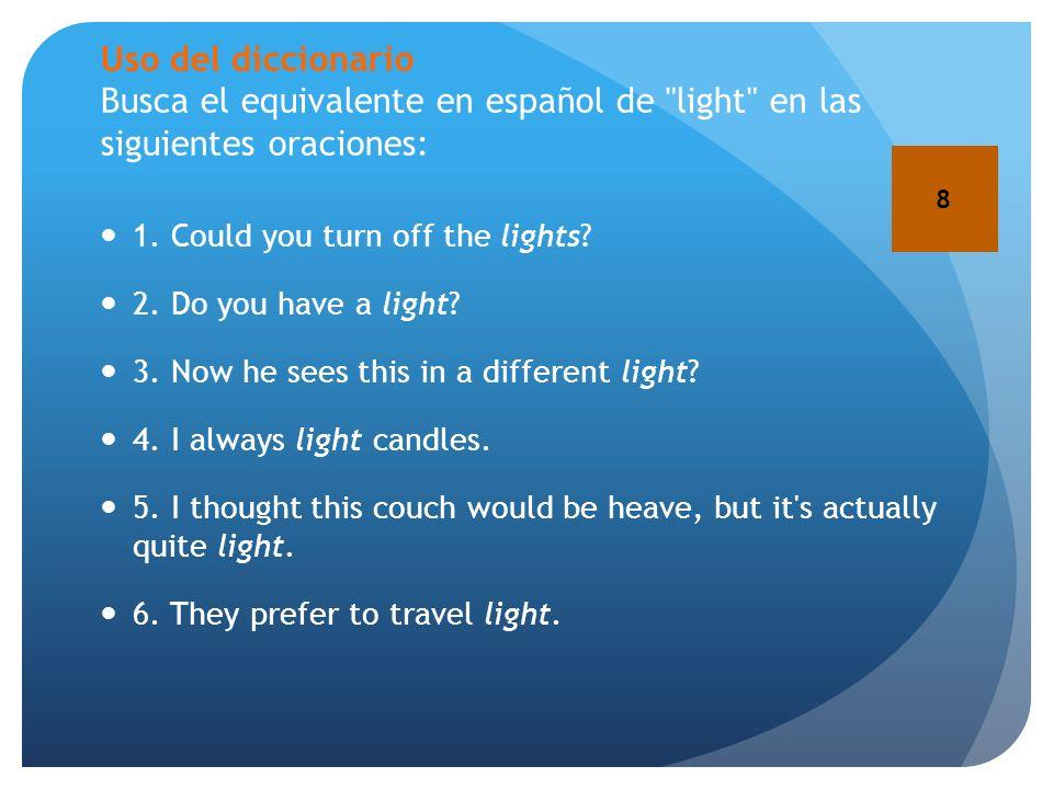 Uso del diccionario Busca el equivalente en español de