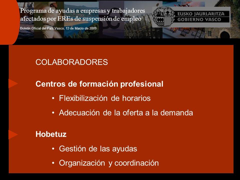 Programa de ayudas a empresas y trabajadores afectados por EREs de suspensión de empleo Boletín Oficial del País Vasco, 13 de Marzo de 2009 COLABORADORES Centros de formación profesional Flexibilización de horarios Adecuación de la oferta a la demanda Hobetuz Gestión de las ayudas Organización y coordinación