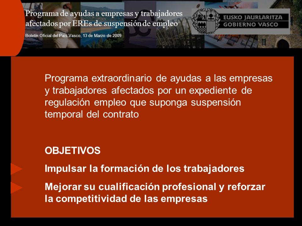 Programa de ayudas a empresas y trabajadores afectados por EREs de suspensión de empleo Boletín Oficial del País Vasco, 13 de Marzo de 2009 Programa e