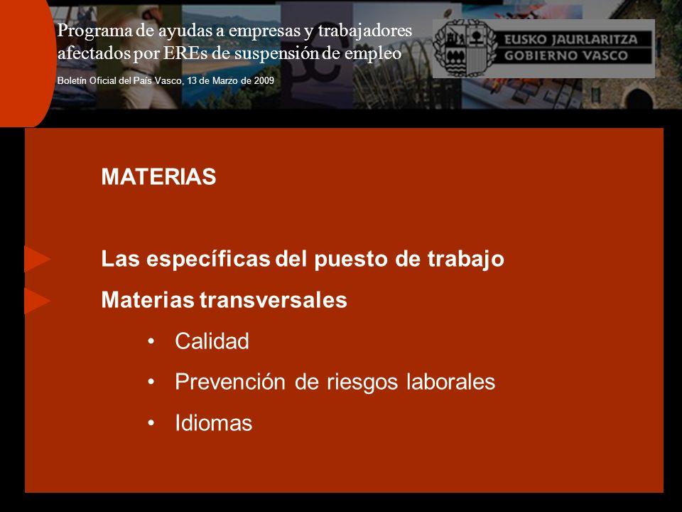 Programa de ayudas a empresas y trabajadores afectados por EREs de suspensión de empleo Boletín Oficial del País Vasco, 13 de Marzo de 2009 MATERIAS L