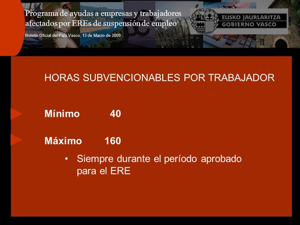 Programa de ayudas a empresas y trabajadores afectados por EREs de suspensión de empleo Boletín Oficial del País Vasco, 13 de Marzo de 2009 HORAS SUBV