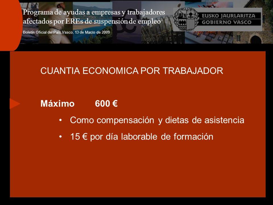 Programa de ayudas a empresas y trabajadores afectados por EREs de suspensión de empleo Boletín Oficial del País Vasco, 13 de Marzo de 2009 CUANTIA ECONOMICA POR TRABAJADOR Máximo600 Como compensación y dietas de asistencia 15 por día laborable de formación