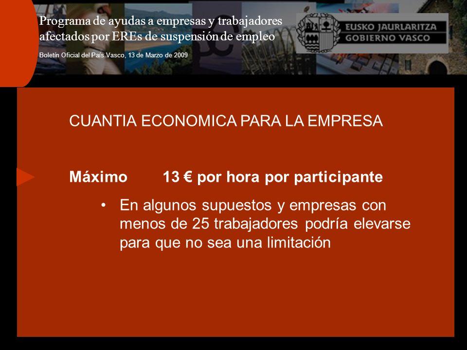 Programa de ayudas a empresas y trabajadores afectados por EREs de suspensión de empleo Boletín Oficial del País Vasco, 13 de Marzo de 2009 CUANTIA EC