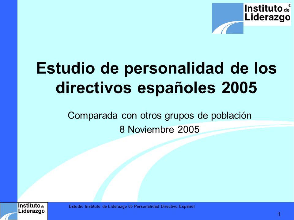 Estudio Instituto de Liderazgo 05 Personalidad Directivo Español 1 ® Estudio de personalidad de los directivos españoles 2005 Comparada con otros grup