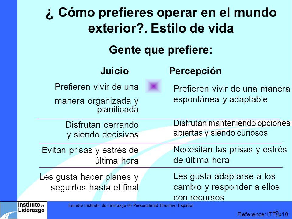Estudio Instituto de Liderazgo 05 Personalidad Directivo Español 10 ¿ Cómo prefieres operar en el mundo exterior?. Estilo de vida Gente que prefiere: