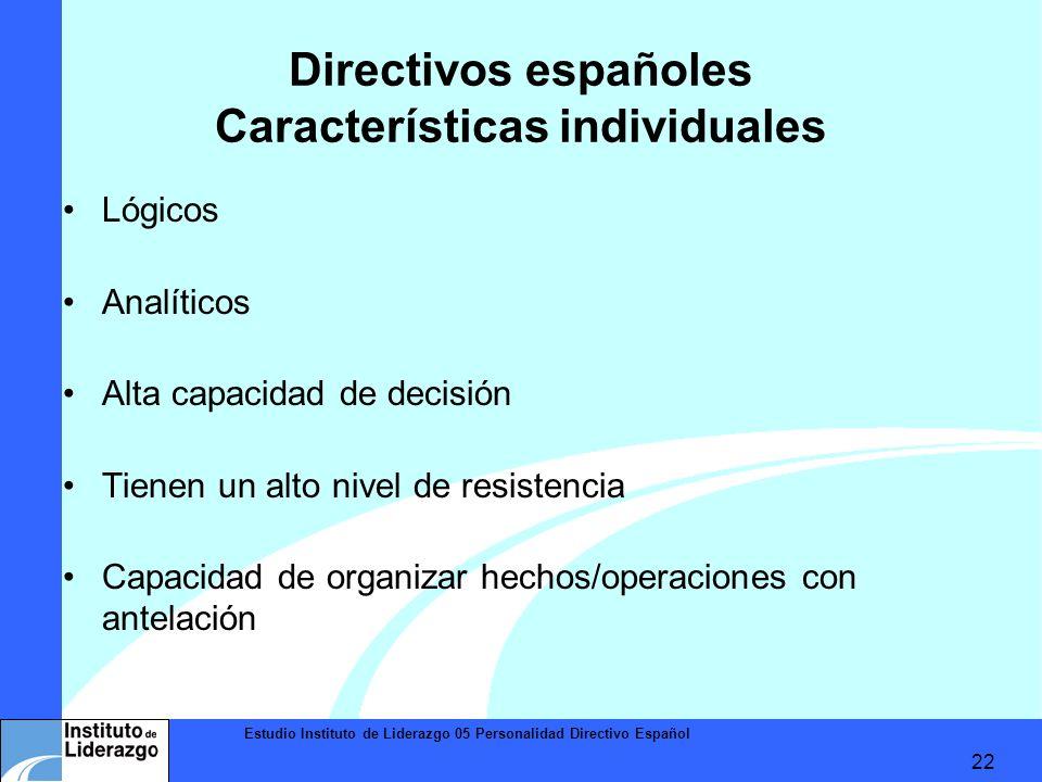 Estudio Instituto de Liderazgo 05 Personalidad Directivo Español 22 Directivos españoles Características individuales Lógicos Analíticos Alta capacida