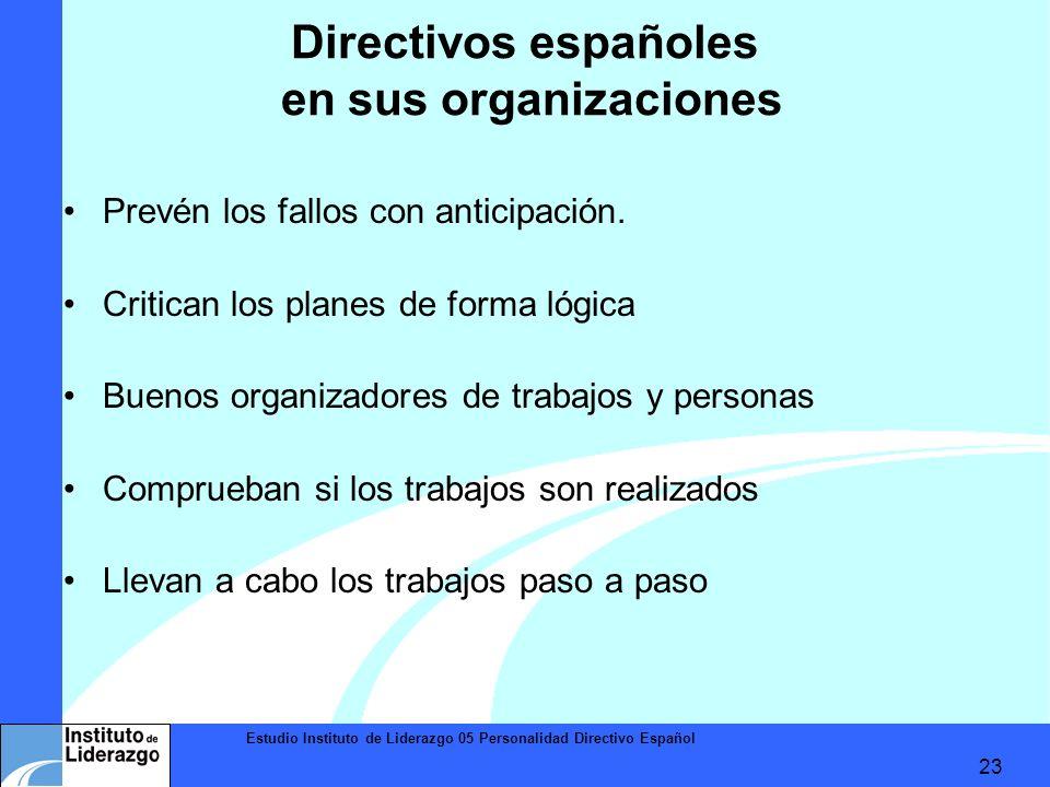 Estudio Instituto de Liderazgo 05 Personalidad Directivo Español 23 Directivos españoles en sus organizaciones Prevén los fallos con anticipación. Cri
