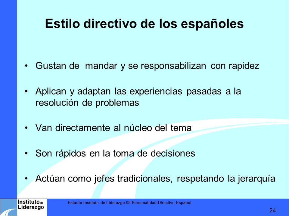 Estudio Instituto de Liderazgo 05 Personalidad Directivo Español 24 Estilo directivo de los españoles Gustan de mandar y se responsabilizan con rapide