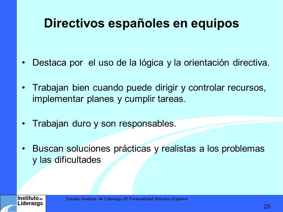 Estudio Instituto de Liderazgo 05 Personalidad Directivo Español 25 Directivos españoles en equipos Destaca por el uso de la lógica y la orientación d