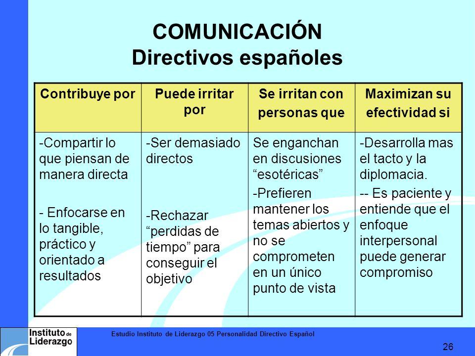 Estudio Instituto de Liderazgo 05 Personalidad Directivo Español 26 COMUNICACIÓN Directivos españoles Contribuye porPuede irritar por Se irritan con p