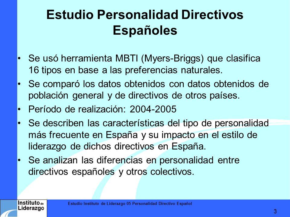 Estudio Instituto de Liderazgo 05 Personalidad Directivo Español 3 Estudio Personalidad Directivos Españoles Se usó herramienta MBTI (Myers-Briggs) qu