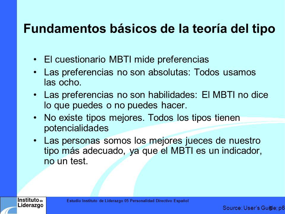 Estudio Instituto de Liderazgo 05 Personalidad Directivo Español 5 El cuestionario MBTI mide preferencias Las preferencias no son absolutas: Todos usa