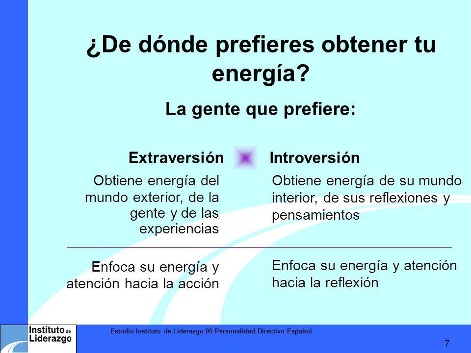 Estudio Instituto de Liderazgo 05 Personalidad Directivo Español 7 Obtiene energía del mundo exterior, de la gente y de las experiencias Enfoca su ene