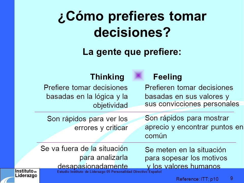 Estudio Instituto de Liderazgo 05 Personalidad Directivo Español 9 ¿Cómo prefieres tomar decisiones? La gente que prefiere: Thinking Feeling Reference