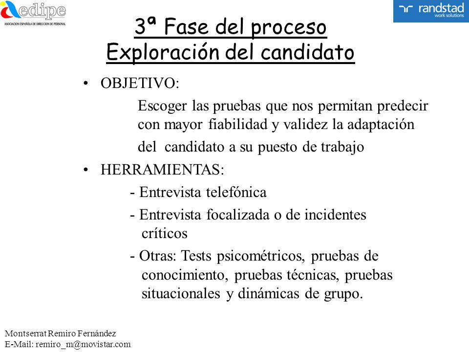 3ª Fase del proceso Exploración del candidato OBJETIVO: Escoger las pruebas que nos permitan predecir con mayor fiabilidad y validez la adaptación del
