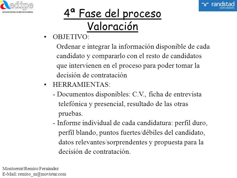 4ª Fase del proceso Valoración OBJETIVO: Ordenar e integrar la información disponible de cada candidato y compararlo con el resto de candidatos que in