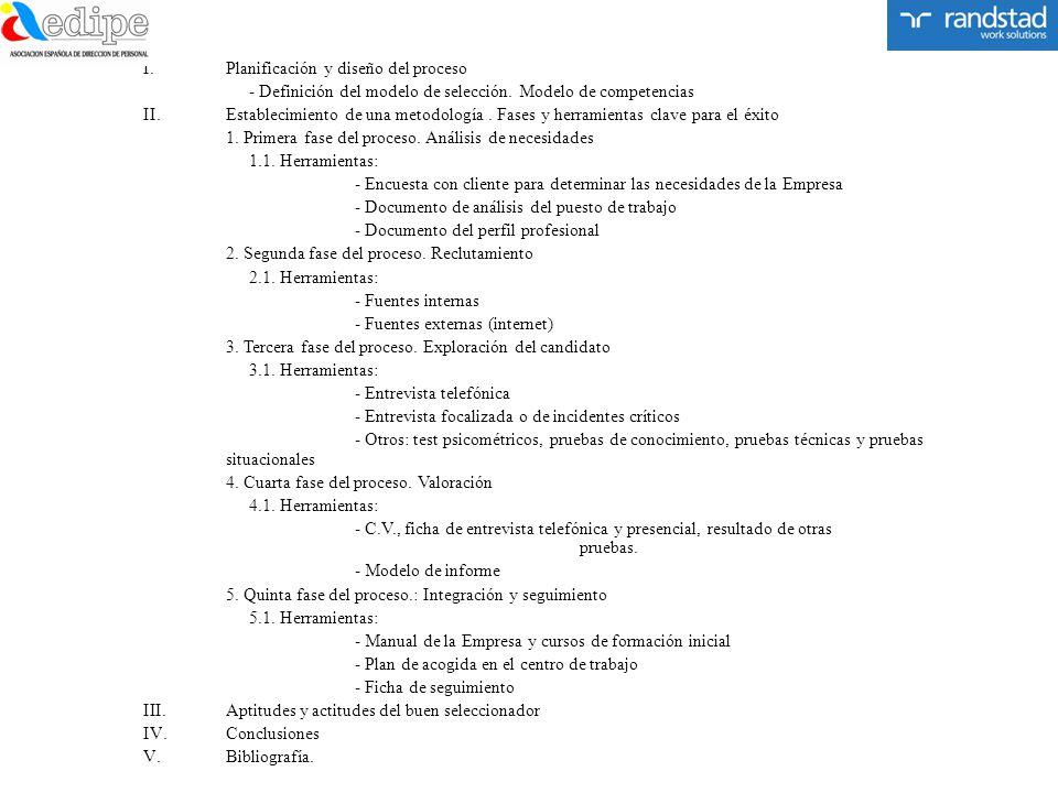 I.Planificación y diseño del proceso - Definición del modelo de selección. Modelo de competencias II.Establecimiento de una metodología. Fases y herra
