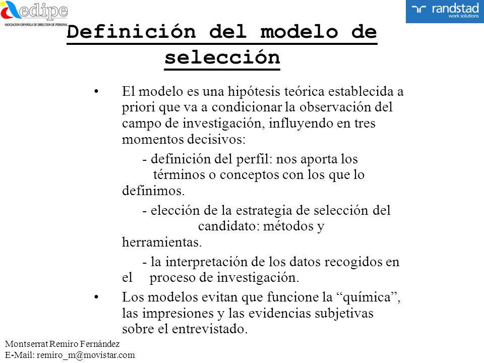 Definición del modelo de selección El modelo es una hipótesis teórica establecida a priori que va a condicionar la observación del campo de investigac