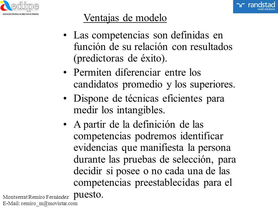 Ventajas de modelo Las competencias son definidas en función de su relación con resultados (predictoras de éxito). Permiten diferenciar entre los cand