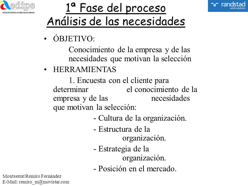 1ª Fase del proceso Análisis de las necesidades ÓBJETIVO: Conocimiento de la empresa y de las necesidades que motivan la selección HERRAMIENTAS 1. Enc