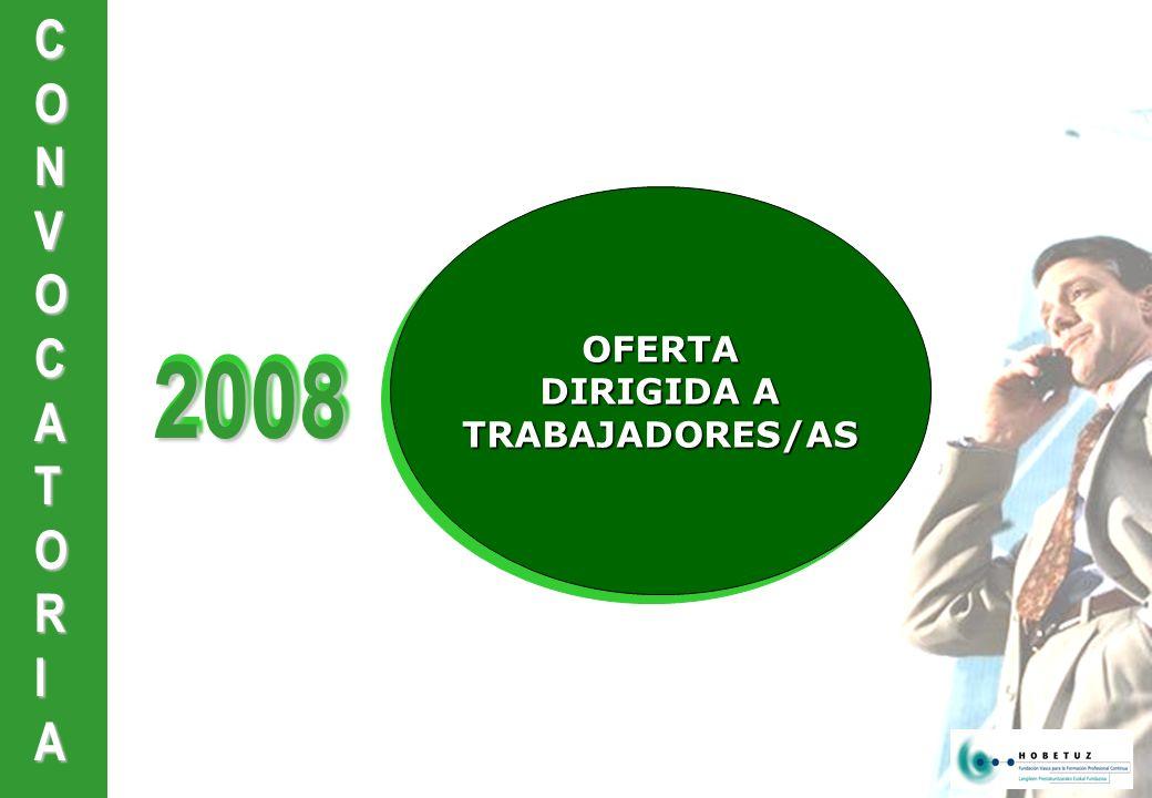 CONVOCATORIA20082008 OFERTA DIRIGIDA A DIRIGIDA A TRABAJADORES/AS OFERTA DIRIGIDA A DIRIGIDA A TRABAJADORES/AS