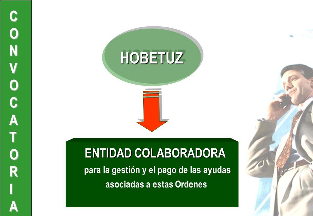 ENTIDAD COLABORADORA para la gestión y el pago de las ayudas asociadas a estas Ordenes HOBETUZ HOBETUZ CONVOCATORIA