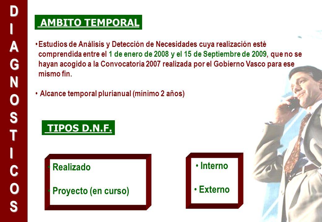 AMBITO TEMPORAL Estudios de Análisis y Detección de Necesidades cuya realización esté comprendida entre el 1 de enero de 2008 y el 15 de Septiembre de 2009, que no se hayan acogido a la Convocatoria 2007 realizada por el Gobierno Vasco para ese mismo fin.
