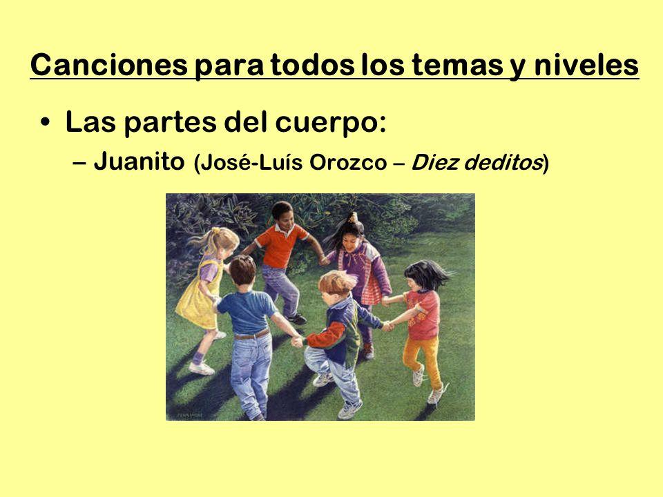 Canciones para todos los temas y niveles Las partes del cuerpo: –Juanito (José-Luís Orozco – Diez deditos)