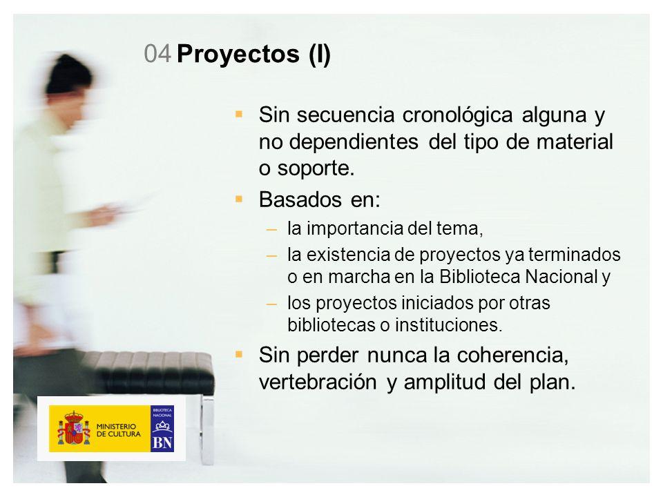Proyectos (I) Sin secuencia cronológica alguna y no dependientes del tipo de material o soporte.