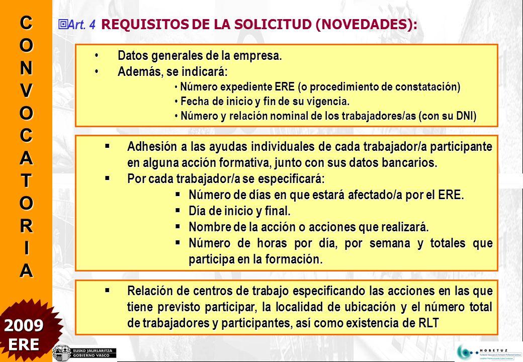 Art.4 REQUISITOS DE LA SOLICITUD (NOVEDADES): Datos generales de la empresa.