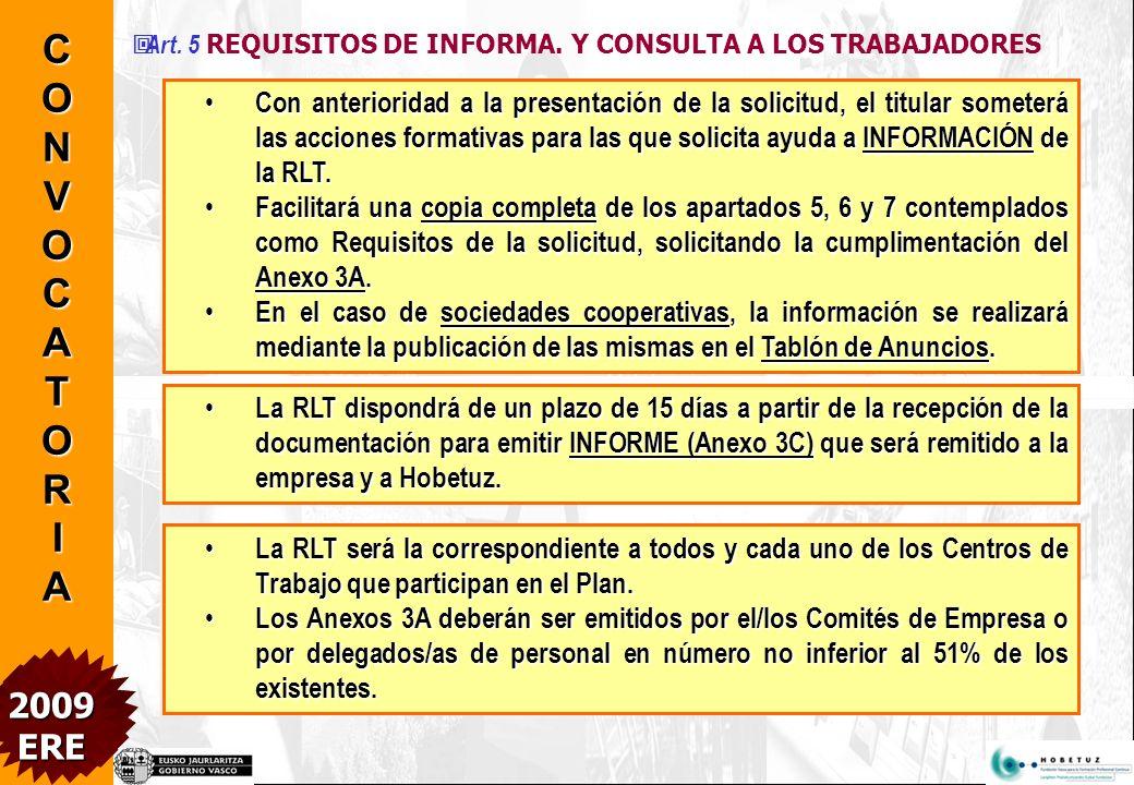 Art.5 REQUISITOS DE INFORMA.