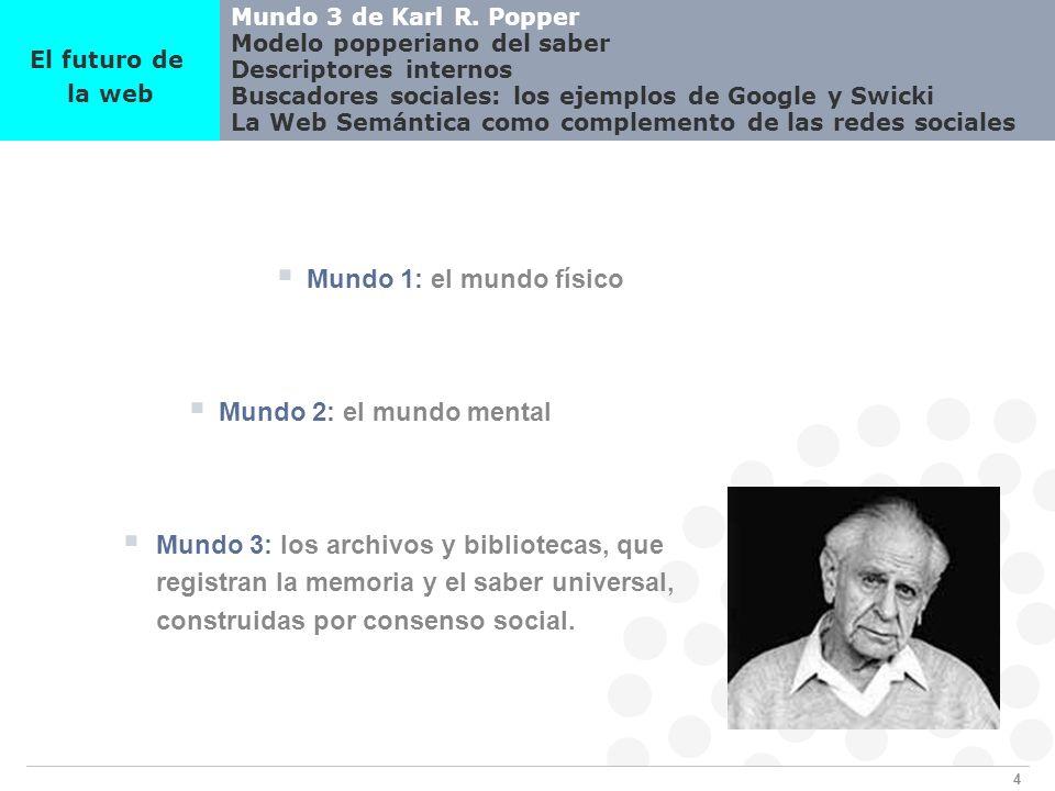4 Mundo 3 de Karl R. Popper Modelo popperiano del saber Descriptores internos Buscadores sociales: los ejemplos de Google y Swicki La Web Semántica co