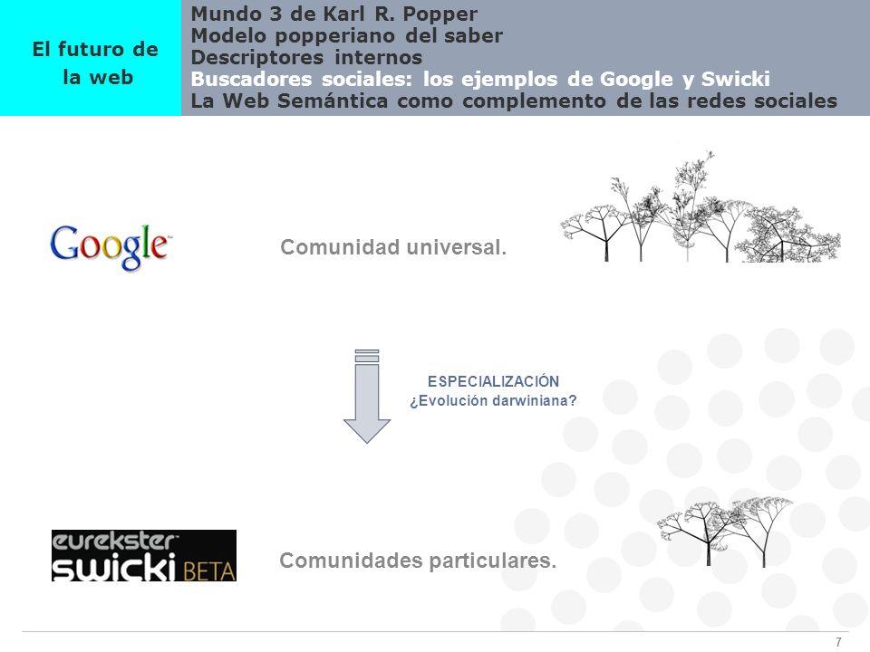 7 Mundo 3 de Karl R. Popper Modelo popperiano del saber Descriptores internos Buscadores sociales: los ejemplos de Google y Swicki La Web Semántica co