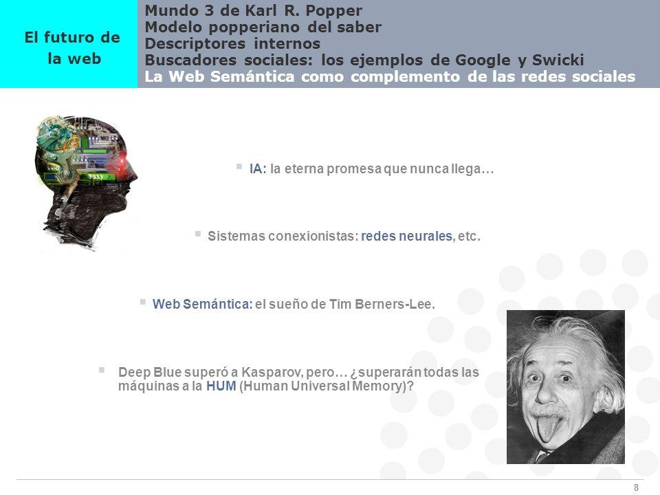 8 Mundo 3 de Karl R. Popper Modelo popperiano del saber Descriptores internos Buscadores sociales: los ejemplos de Google y Swicki La Web Semántica co