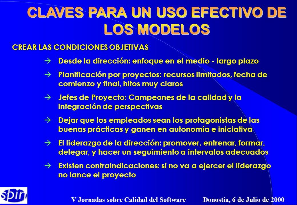 V Jornadas sobre Calidad del Software Donostia, 6 de Julio de 2000 CREAR LAS CONDICIONES OBJETIVAS à Desde la dirección: enfoque en el medio - largo p