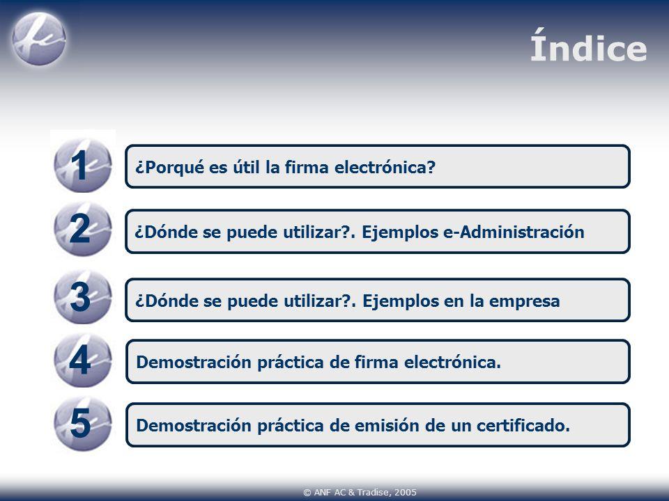 Índice 1 ¿Porqué es útil la firma electrónica? 34 ¿Dónde se puede utilizar?. Ejemplos en la empresa Demostración práctica de firma electrónica. © ANF